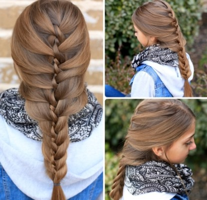 коса твист во французском стиле