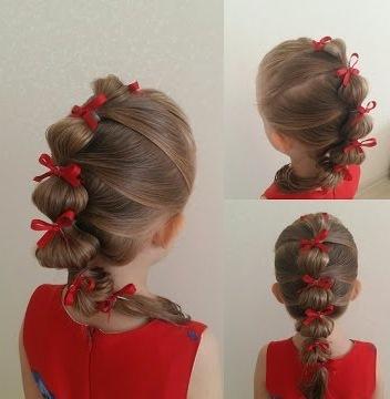 Детские прически для девочек на каждый день, в садик, школу, на короткие, длинные волосы, с бантами