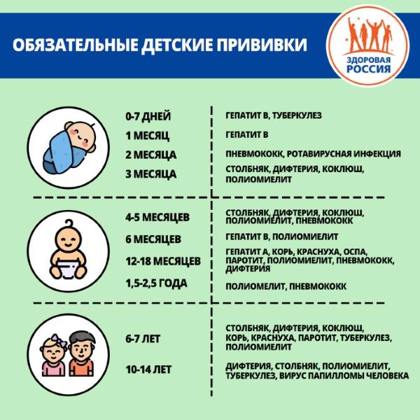 Календарь (график) прививок для детей в России от гриппа, менингита, ветрянки, пневмонии. Обязательные, расшифровка