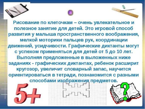 Математический диктант по клеточкам для детей 1-2-3-4 класса. Рисунки и описание