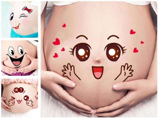 Рисунки на животе у беременных прикольные, простые, для мальчиков, девочек