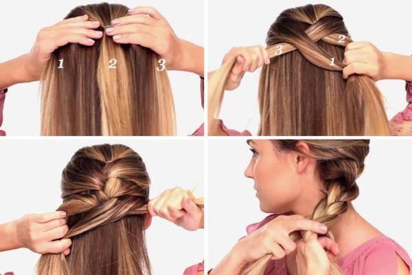 Косички с распущенными волосами для девочек. Фото плетения две по бокам, у виска, на пол головы